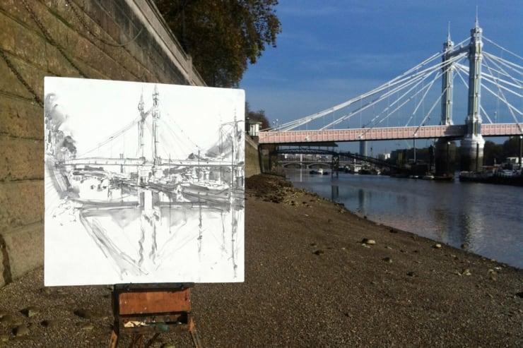 2014 11 04 Gerard Byrne Plein Air Sketch Albert Bridge River Thames London Photo Credit Gerard Byrne