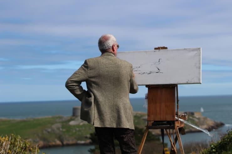 2015 04 19 Gerard Byrne Plein Air Painting Dalkey Island From Sorrento Park Dalkey Ireland Photo Credit Colm Murphy 1