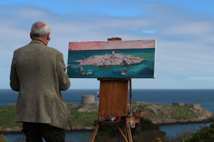 2015 04 19 Gerard Byrne Plein Air Painting Dalkey Island From Sorrento Park Dalkey Ireland Photo Credit Colm Murphy 3