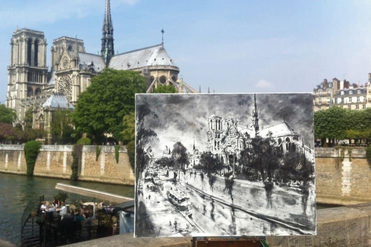 2015 04 26 Gerard Byrne Plein Air Sketch Notre Dame Paris Photo Credit Agata Byrne