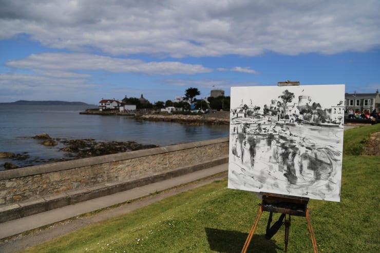 2015 06 16 Gerard Byrne Plein Air Charcoal Sketch Sandycove Ireland Photo Credit Colm Murphy 2