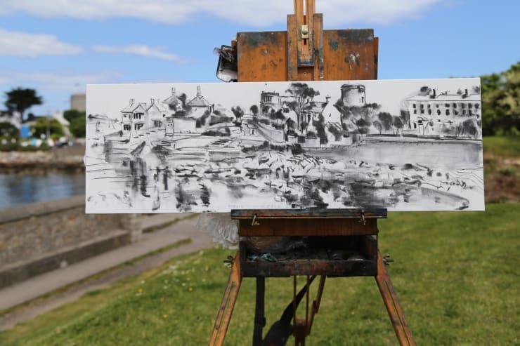2015 06 16 Gerard Byrne Plein Air Charcoal Sketch Sandycove Ireland Photo Credit Colm Murphy 3