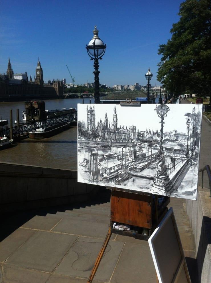 2015 07 10 Gerard Byrne Plein Air Charcoal Sketch Palace Of Westminster River Thames London Photo Credit Gerard Byrne