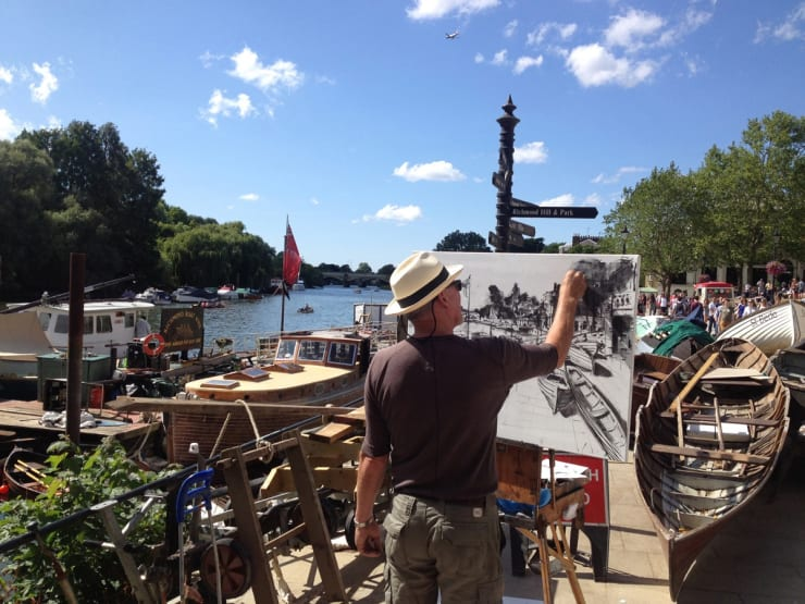 2015 07 19 Gerard Byrne Plein Air Sketching River Thames Richmond London Photo Credit Agata Byrne