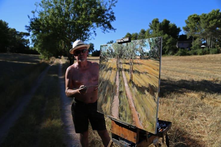 2015 07 28 Gerard Byrne Plein Air Painting Valcros Wheat Fields Aix En Provence France Photo Credit Agata Byrne 2