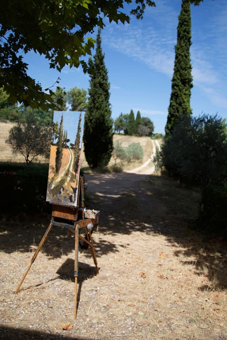2015 07 29 Gerard Byrne Plein Air Painting The Cypress Road Aix En Provence France Photo Credit Agata Byrne