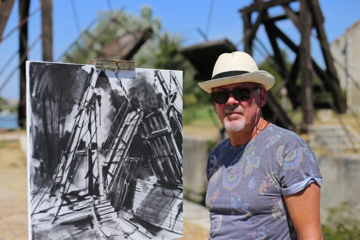 2015 08 06 Gerard Byrne Plein Air Sketching The Bridge Of Langlois Arles France Following Vincent Van Gogh Phot Credit Agata Byrne 3