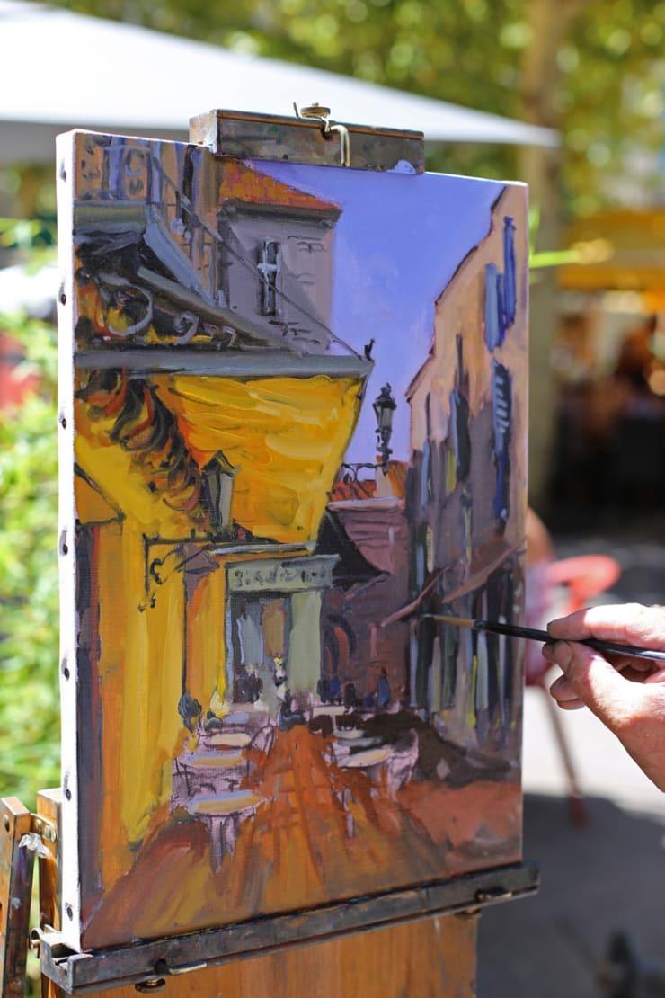 2015 08 09 Gerard Byrne Plein Air Painting The Cafe Terrace Arles France Following Vincent Van Gogh Photo Credit Agata Byrne 3