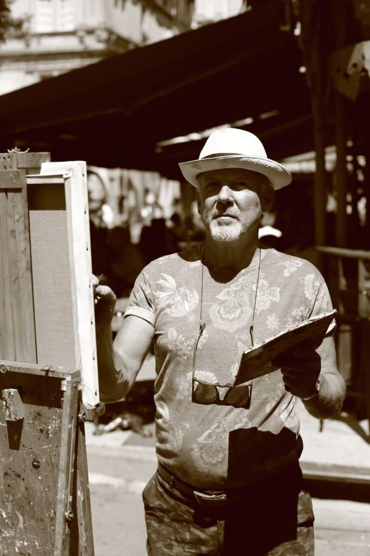 2015 08 09 Gerard Byrne Plein Air Painting The Cafe Terrace Arles France Following Vincent Van Gogh Photo Credit Agata Byrne 4