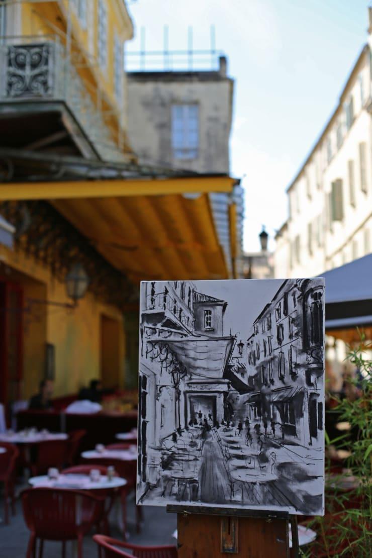2015 08 09 Gerard Byrne Plein Air Sketch The Cafe Terrace Arles France Following Vincent Van Gogh Photo Credit Agata Byrne 1