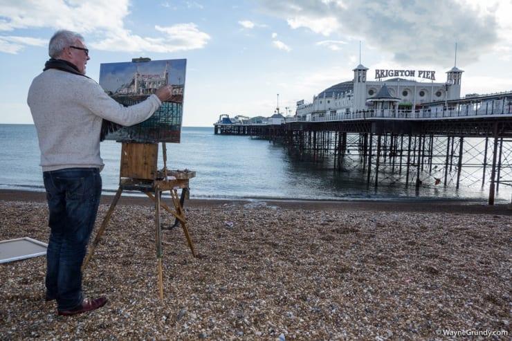 2016 02 18 Gerard Byrne Plein Air Painting The Palace Pier Brighton Photo Credit Wayne Grundy 2