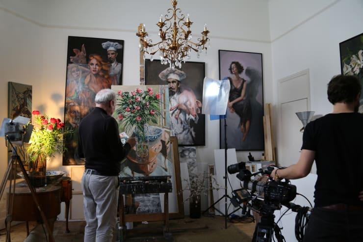 2016 02 21 Gerard Byrne Painting Roses By The Window Behind Scenes Kirsten Cavendish Film At Artist Studio Brighton Uk Photo Credit Agata Byrne 1
