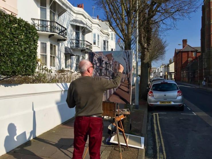 2016 03 17 Gerard Byrne Plein Air Painting St Patricks Day At Montpelier Terrace Brighton Uk Photo Credit Tony Williams