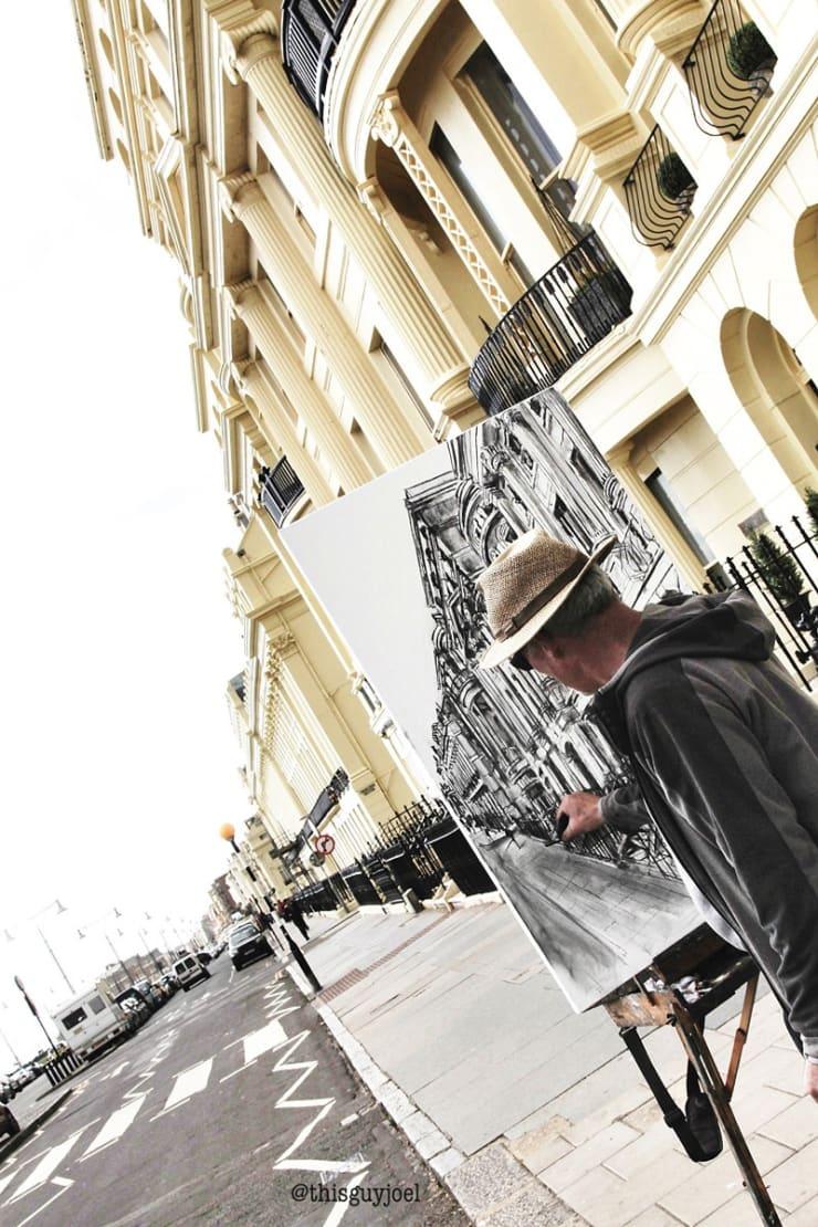 2016 05 25 Gerard Byrne Plein Air Sketching Sunny Day At Brunswick Terrace Brighton Uk Photo Credit Joel Thisguyjoel 2