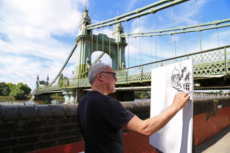 2016 07 29 Gerard Byrne Plein Air Painting Hammersmith Bridge Pintar Rapido London Photo Credit Agata Byrne 1
