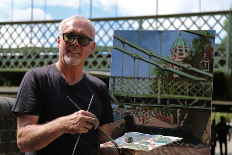 2016 07 29 Gerard Byrne Plein Air Painting Hammersmith Bridge Pintar Rapido London Photo Credit Agata Byrne 3