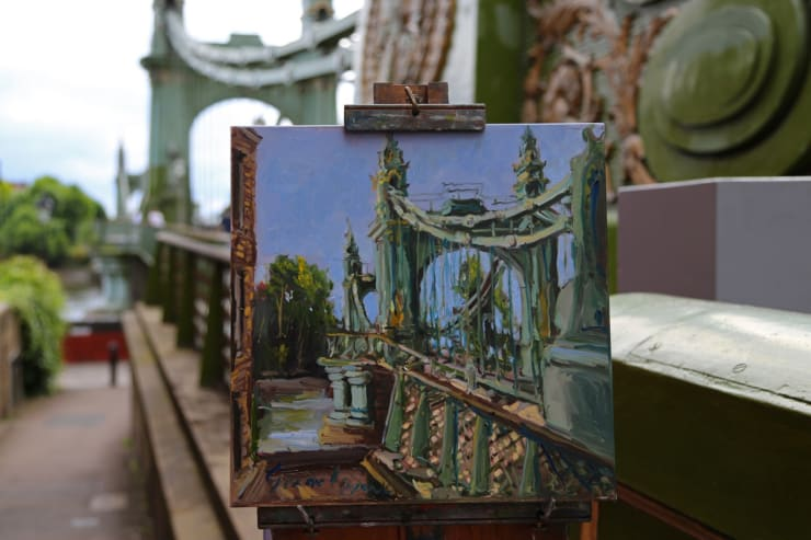 2016 07 29 Gerard Byrne Plein Air Painting Hammersmith Bridge Second Attempt Pintar Rapido London Photo Credit Agata Byrne 2