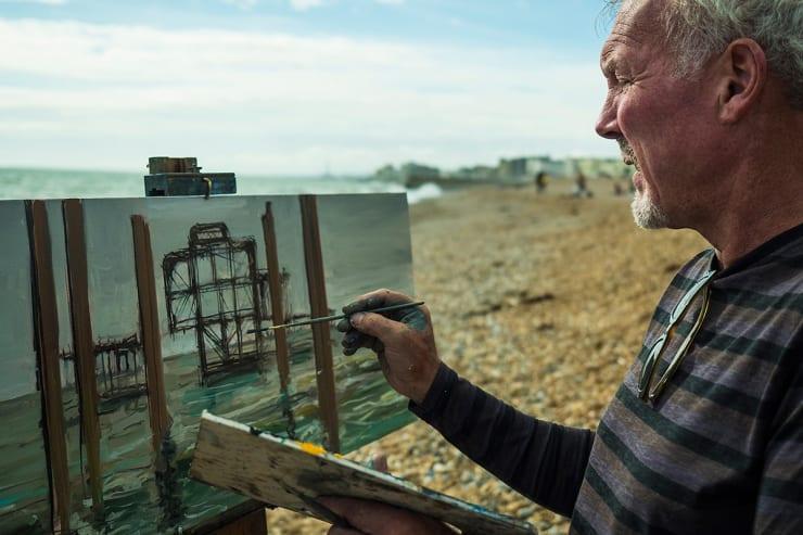2016 09 Gerard Byrne Plein Air Painting West Pier Brighton Uk Photo Credit Albert Bowling 2