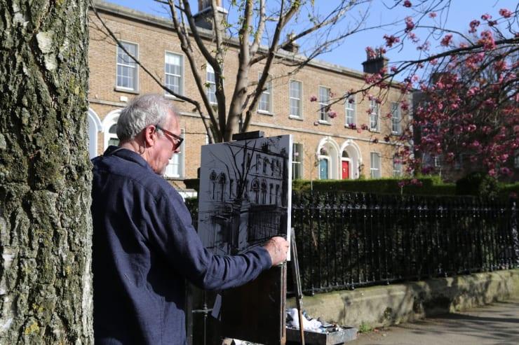 2018 04 21 Gerard Byrne Plein Air Painting Wellington Road Ballsbridge Dublin Photo Credit Agata Byrne 2
