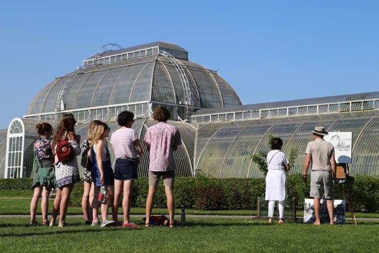 2018 05 07 Gerard Byrne Plein Air Painting The Palm House Kew Royal Botanic Gardens Richmond London Photo Credit Agata Byrne 7