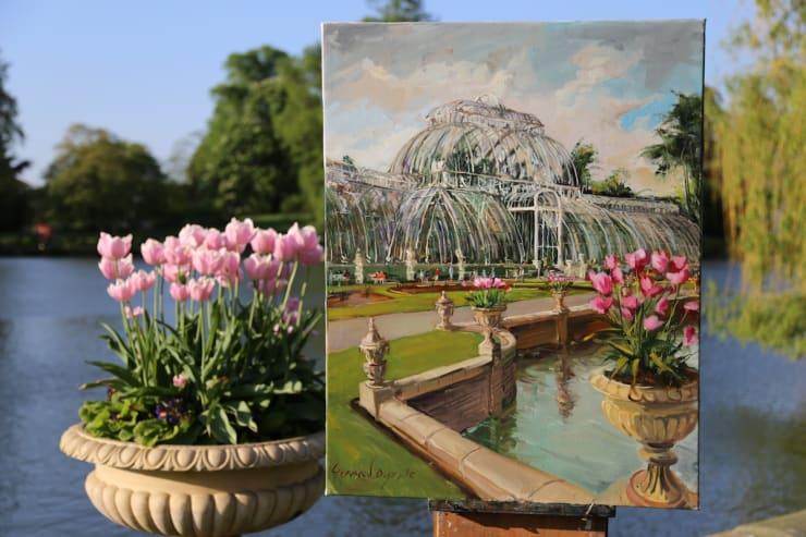 2018 05 08 Gerard Byrne Plein Air Painting The Palm House Kew Royal Botanic Gardens Richmond London Photo Credit Agata Byrne 10