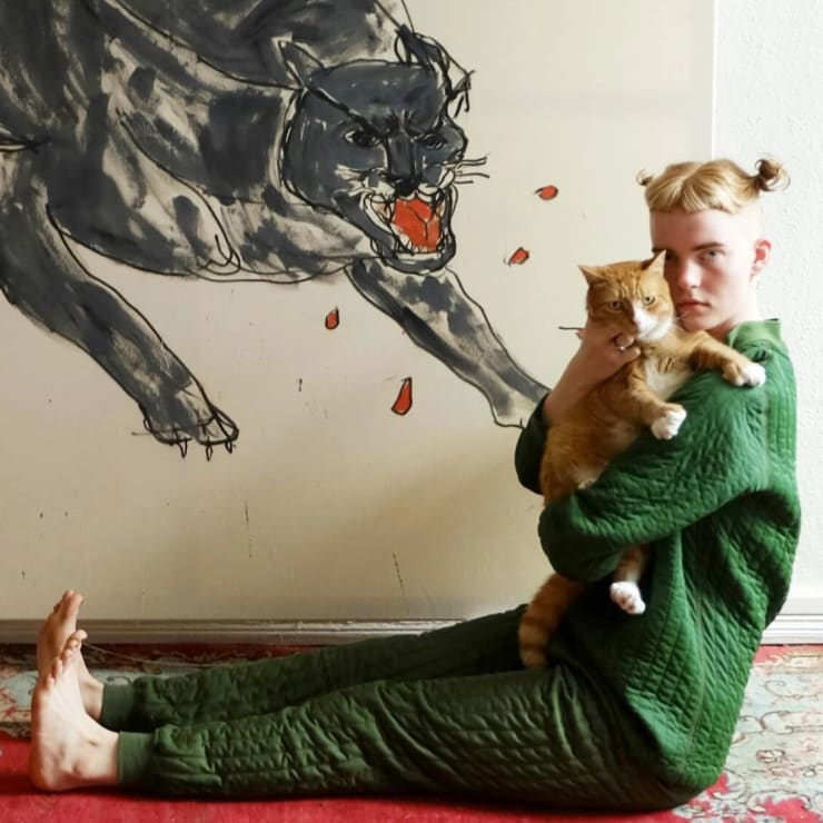 sophie vallance cantor's cat paintings explore anxiety and empowerment
