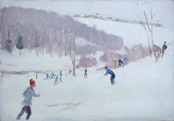 Mikhail Kuznetsov Skiers, 1950s, oil on cardboard, 34.5 x 49 cm