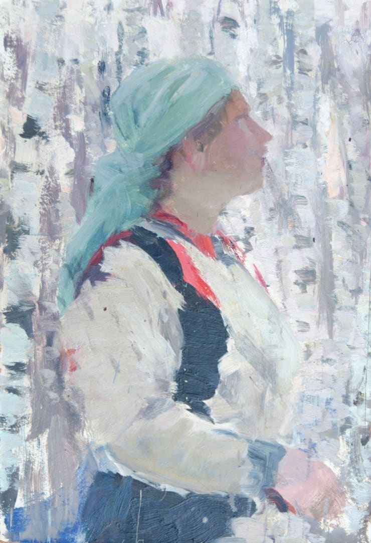 Irina Vitman Woman Among the Birches, 1958, oil on cardboard, 47 x 32 cm