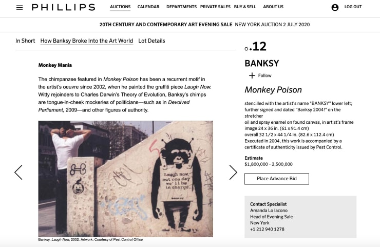 Banksy 'Monkey Poison' sells for 2.000.000 USD less fees on Phillips Auction.
