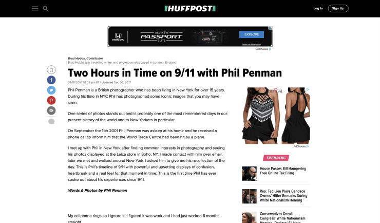 HUFFINGTON POST: TWO HOURS IN TIME ON 9/11 WITH PHIL PENMAN
