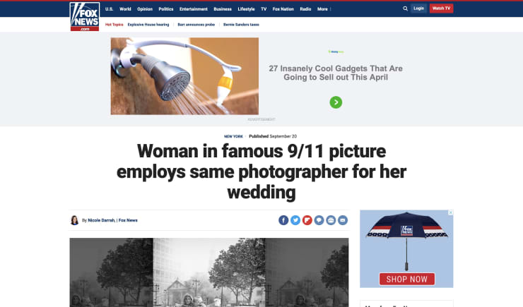 FOX NEWS: Woman in famous 9/11 picture employs same photographer for her wedding