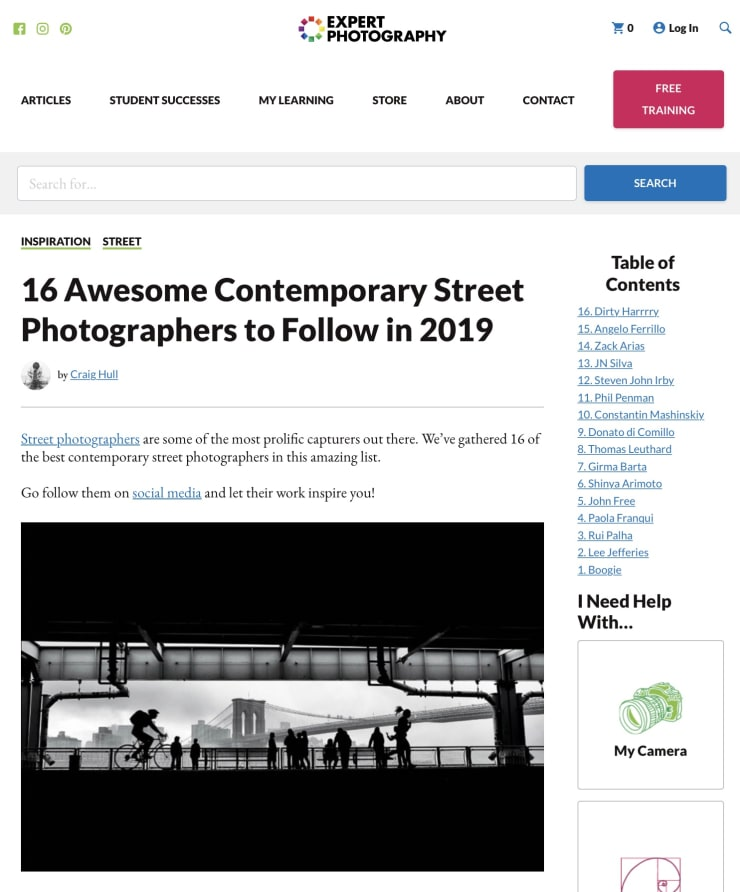 EXPERT PHOTOGRAPHY MAGAZINE: TOP 16 CONTEMPORARY STREET PHOTOGRAPHERS TO WATCH FOR 2019