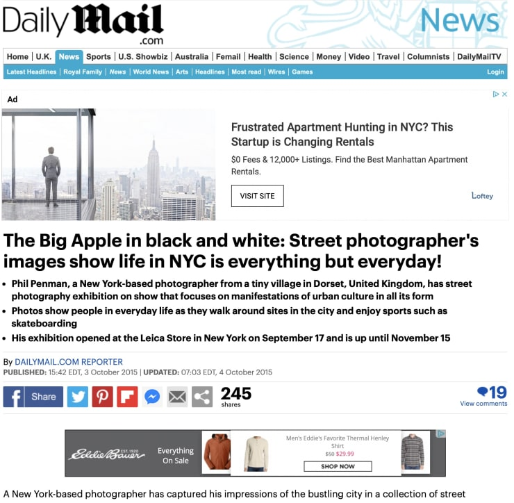 Daily Mail: The Big Apple in black and white: Street photographer's images show life in NYC is everything but everyday!