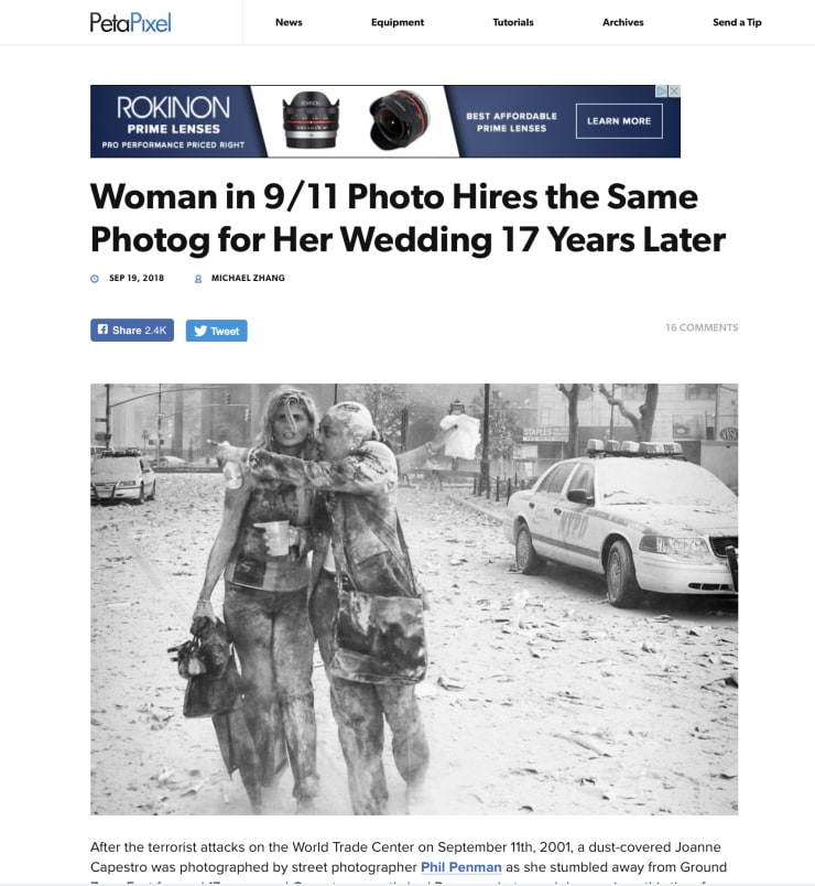 Peta Pixel: Woman in 9/11 Photo Hires the Same Photog for Her Wedding 17 Years Later