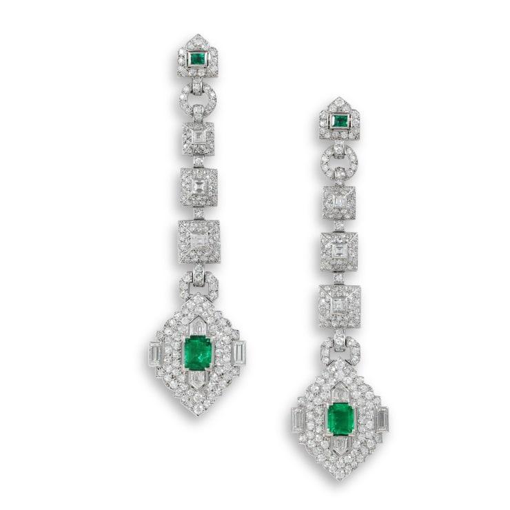 Cartier Art Deco Emerald And Diamond Earrings