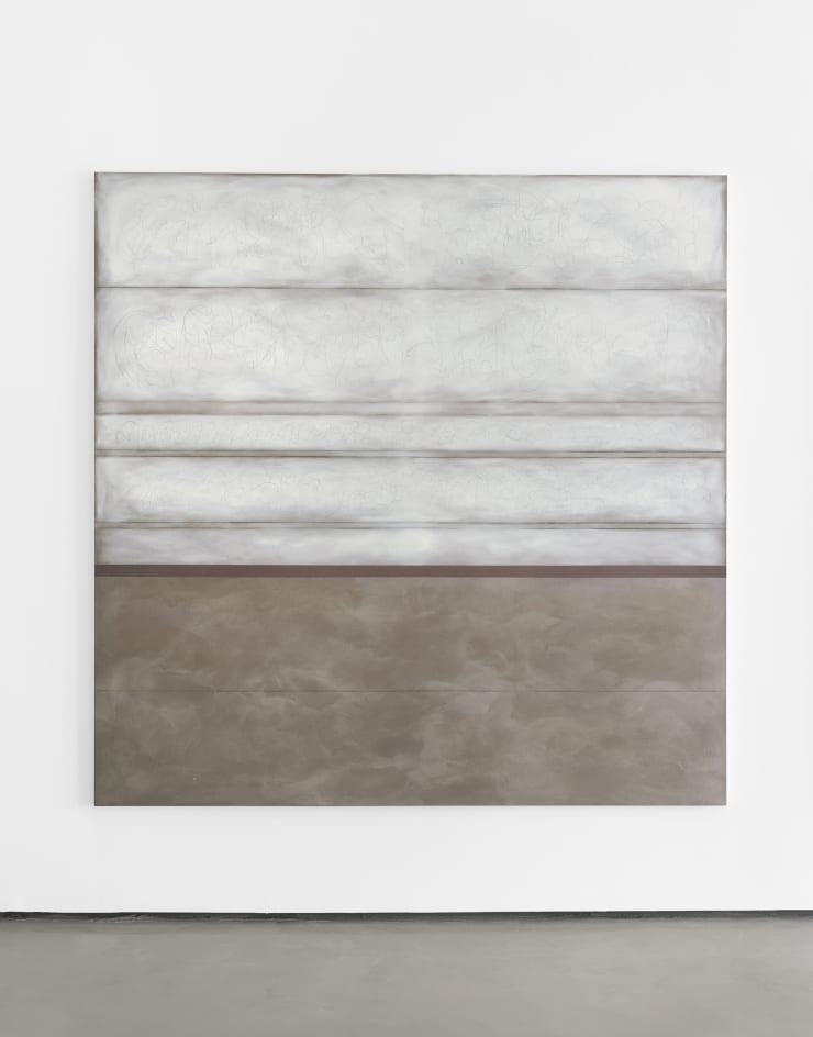 Richard Höglund Enthusiasm IV, 2019 tin, lead, titanium, safflower oil, acrylic emulsions, marble pulver, and wine on canvas 89 x 89 in / 226 x 266 cm