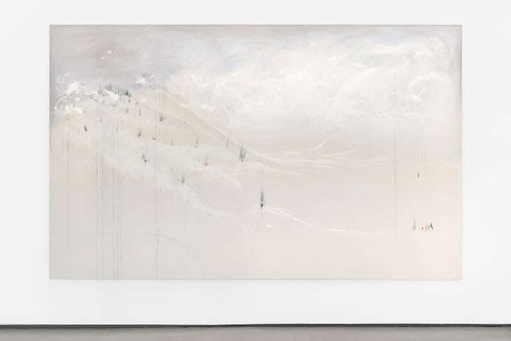 Richard Höglund Descent of Nysa, 2019 gold, silver, tin, lead, bismuth, titanium, various oils and acrylic emulsions, marble pulver, diatomaceous earth, and wine canvas 89 x 145 in / 226 x 366 cm