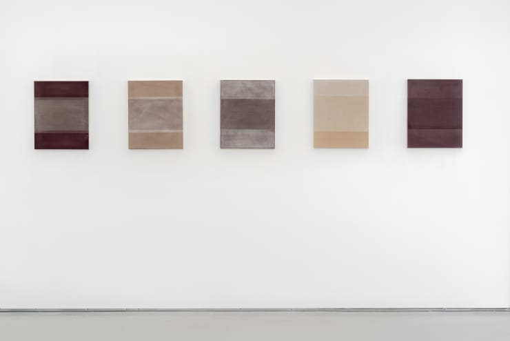 Richard Höglund Naxos Passage (Set of 5), 2019 marble pulver, diamaceous earth, acrylic emulsions, and wine on canvas 21 x 17 in / 54 x 43 cm each