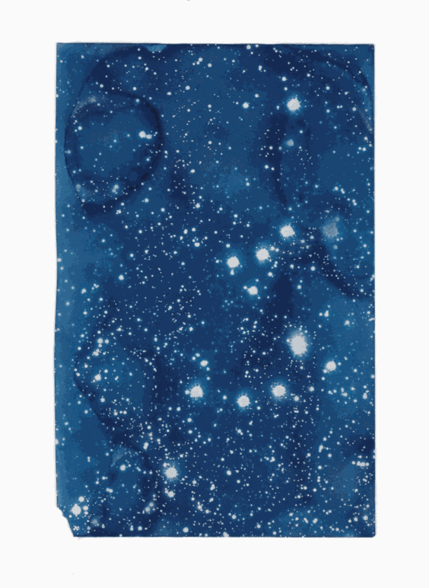 Ala Ebtekar, Nightfall (after Asimov & Emmerson), Cyanotype exposed by starlight on found book page