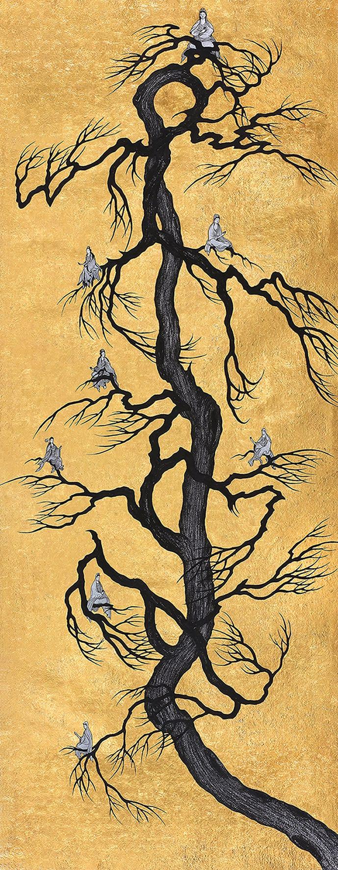 姚瑞中 離垢地:菩提本無樹, 2019 金箔.藝術筆.印度手工紙 197.5 × 77.5 cm