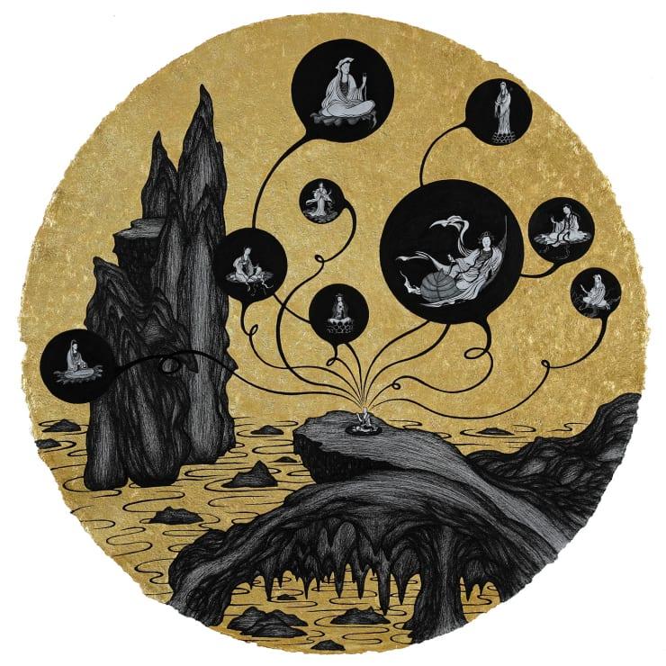 姚瑞中 千巖萬壑:與神連線, 2019 金箔.藝術筆.印度手工紙 110 × 110 cm