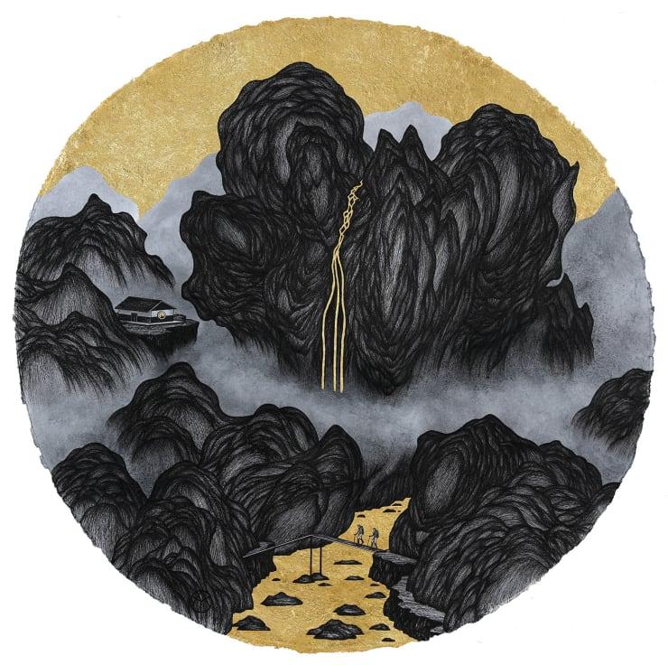 姚瑞中 千巖萬壑:伴天涯, 2018 金箔.藝術筆.印度手工紙 110 × 110 cm