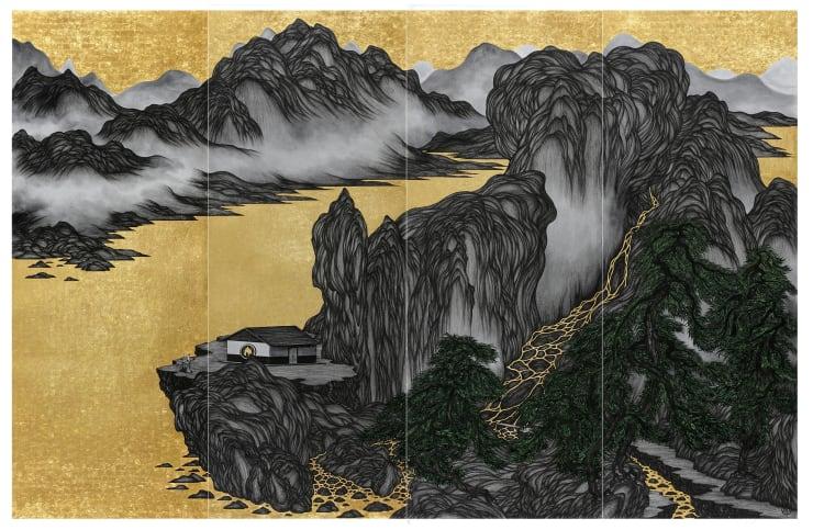 姚瑞中 離垢地:江山美人, 2019 金箔.藝術筆.印度手工紙 200 × 300 cm (四屏屏風)