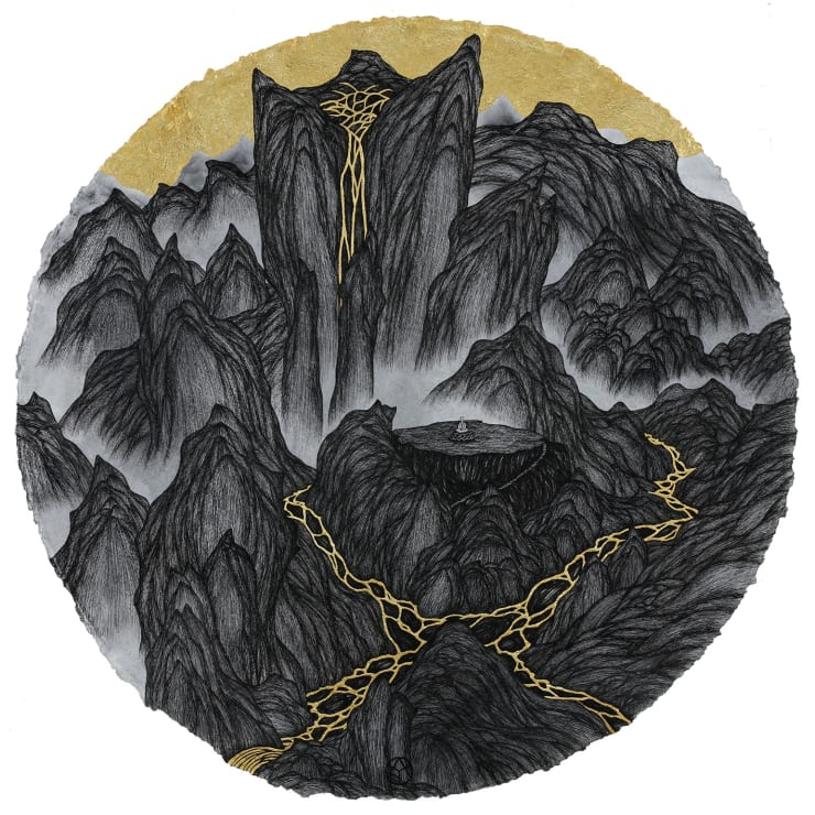姚瑞中 千巖萬壑:靜修圖, 2018 金箔.藝術筆.印度手工紙 110 × 110 cm