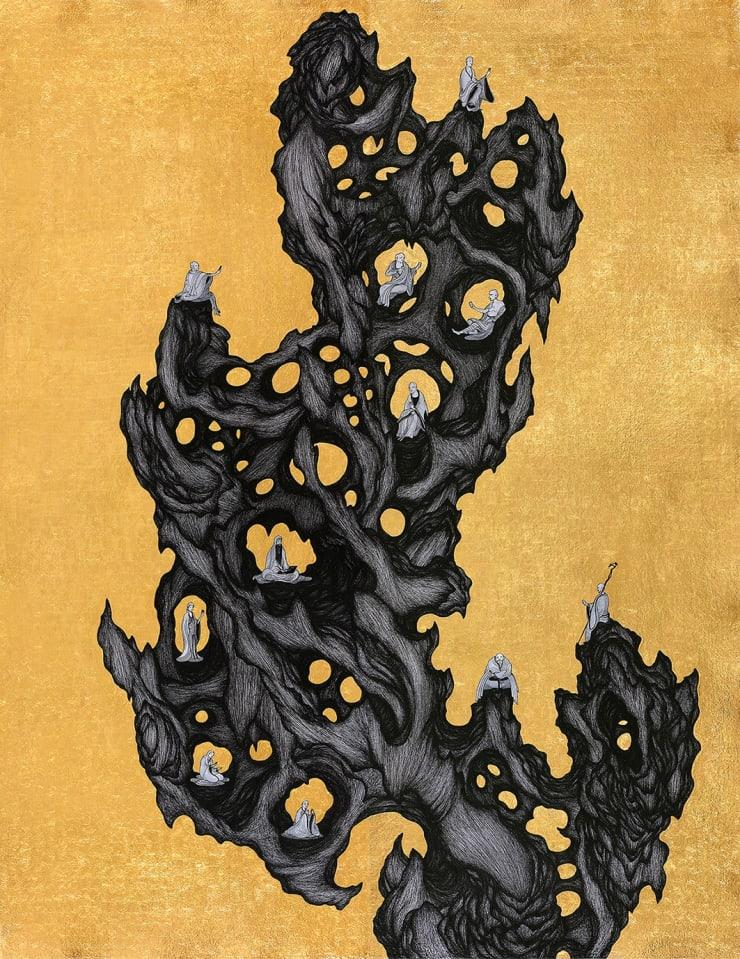 姚瑞中 離垢地:羅漢巖, 2019 金箔.藝術筆.印度手工紙 200 × 155 cm (雙拼)