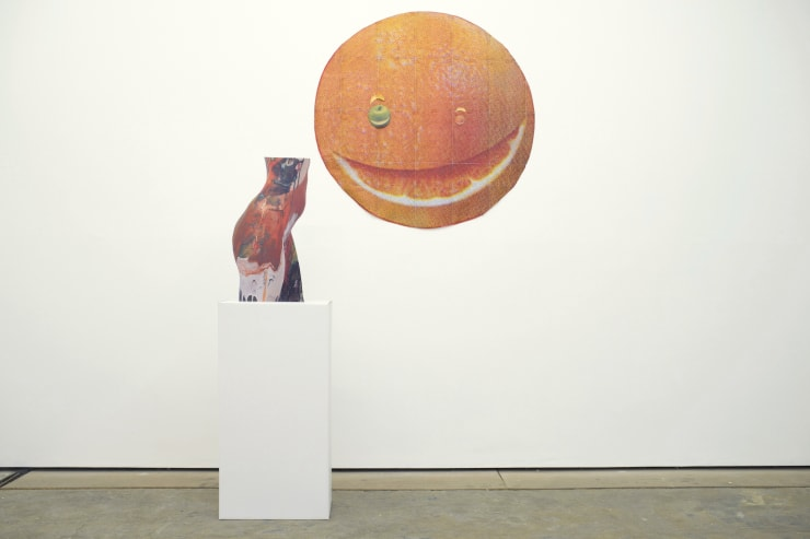 Left: Keith Farquhar, Glazed Hips, 2011, Inkjet on computer-cut card with flat-pack cardboard plinth Right: Josephine Flynn, Untitled, 2014, Printed paper, magic tape