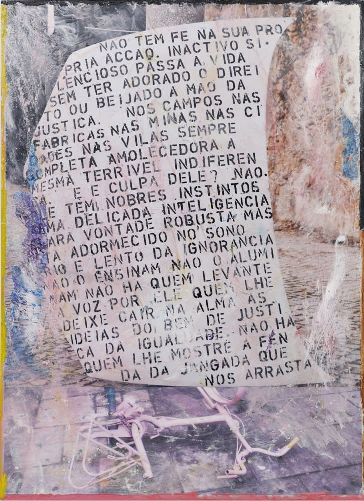 Hugo Canoilas, With no faith in his own actions (...) No one showing the slit of the raft that carries us, 2014 epoxy and pigment on colour photo, mounted on aluminum 150 x 110 cm 59 1/8 x 43 1/4 in