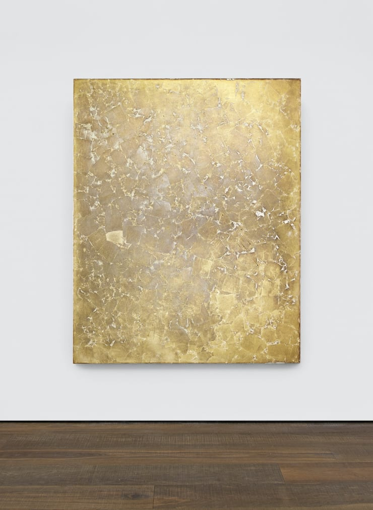 Photo taken in 2021 Jennifer Douglas Entropic Paradise, 2018 Silver leaf, industrial floor paint on linen, punctured and scratched 150 x 120 cm 59 1/8 x 47 1/4 in (JD0200) £8,000