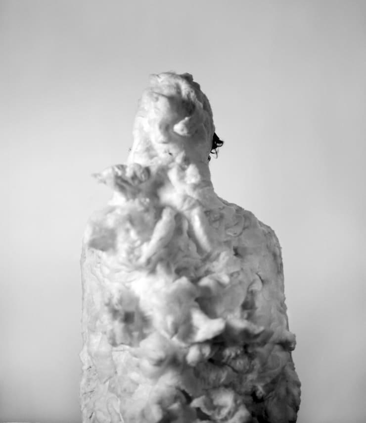Marcus Coates Leopard Slug (Great Slug), Limax maximus, Self portrait, cotton wool, 2013