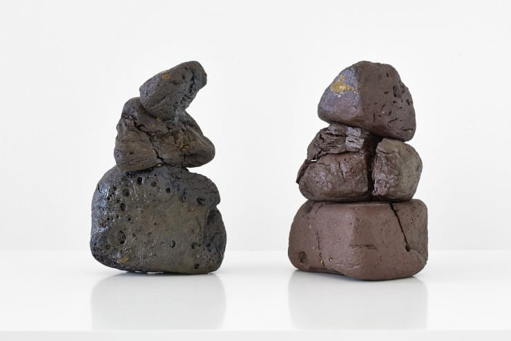 Emily Hesse Alcmene and Galanthis (Finding Mycenae 2011 - ongoing) , 2015 Ceramic, found local brick and copper (on Galanthis only) 21.5 x 7 x 13 cm (Alcmene) 21 x 13.7 x 12.5 cm (Galanthis)